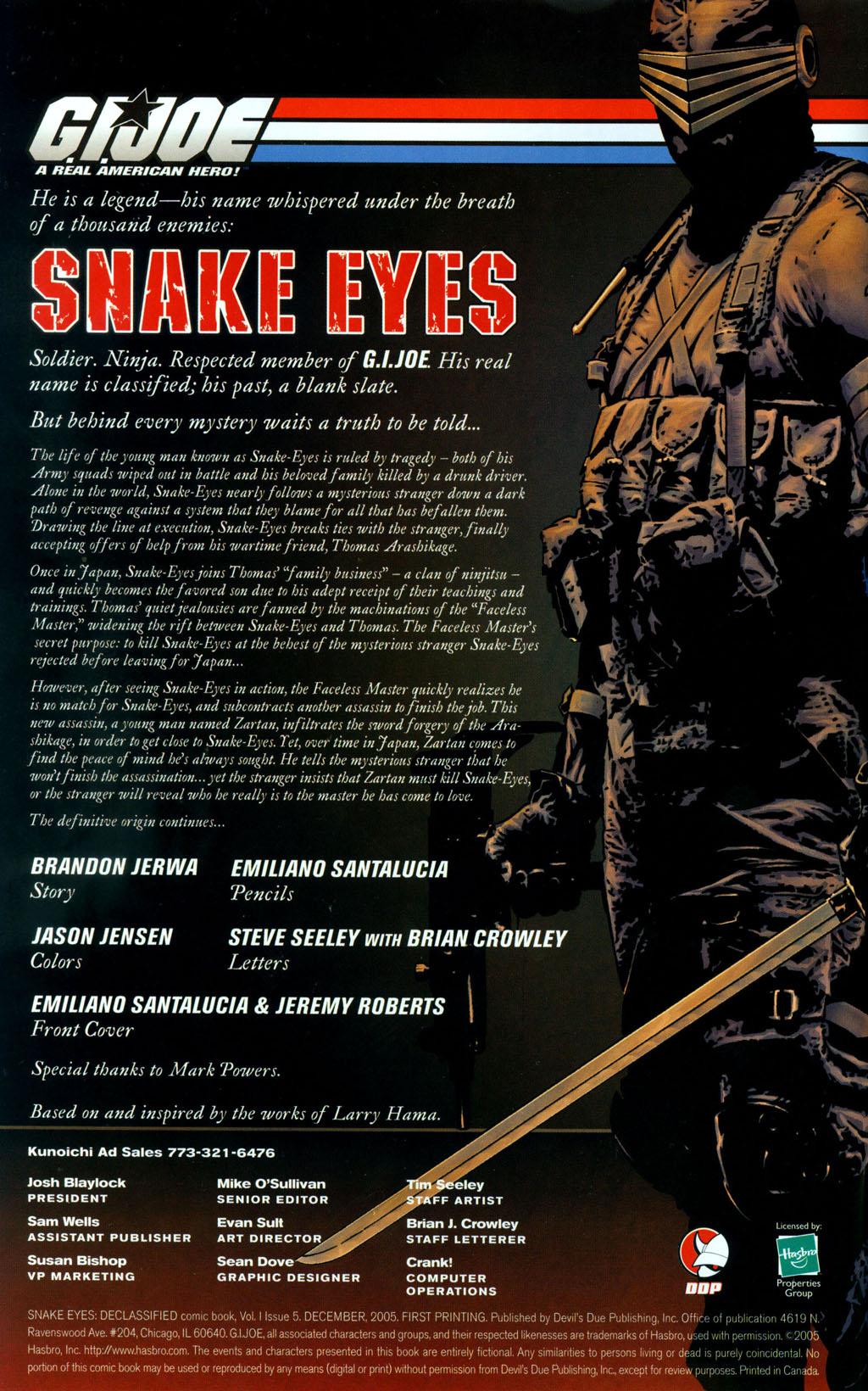 Read online Snake Eyes: Declassified comic -  Issue #5 - 2
