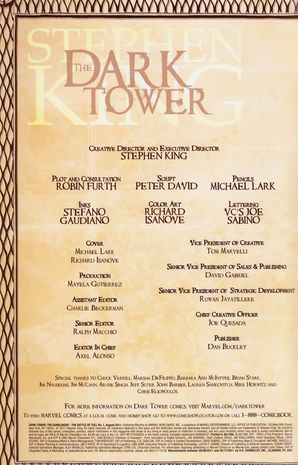 Comic Dark Tower: The Gunslinger - The Battle of Tull issue 1