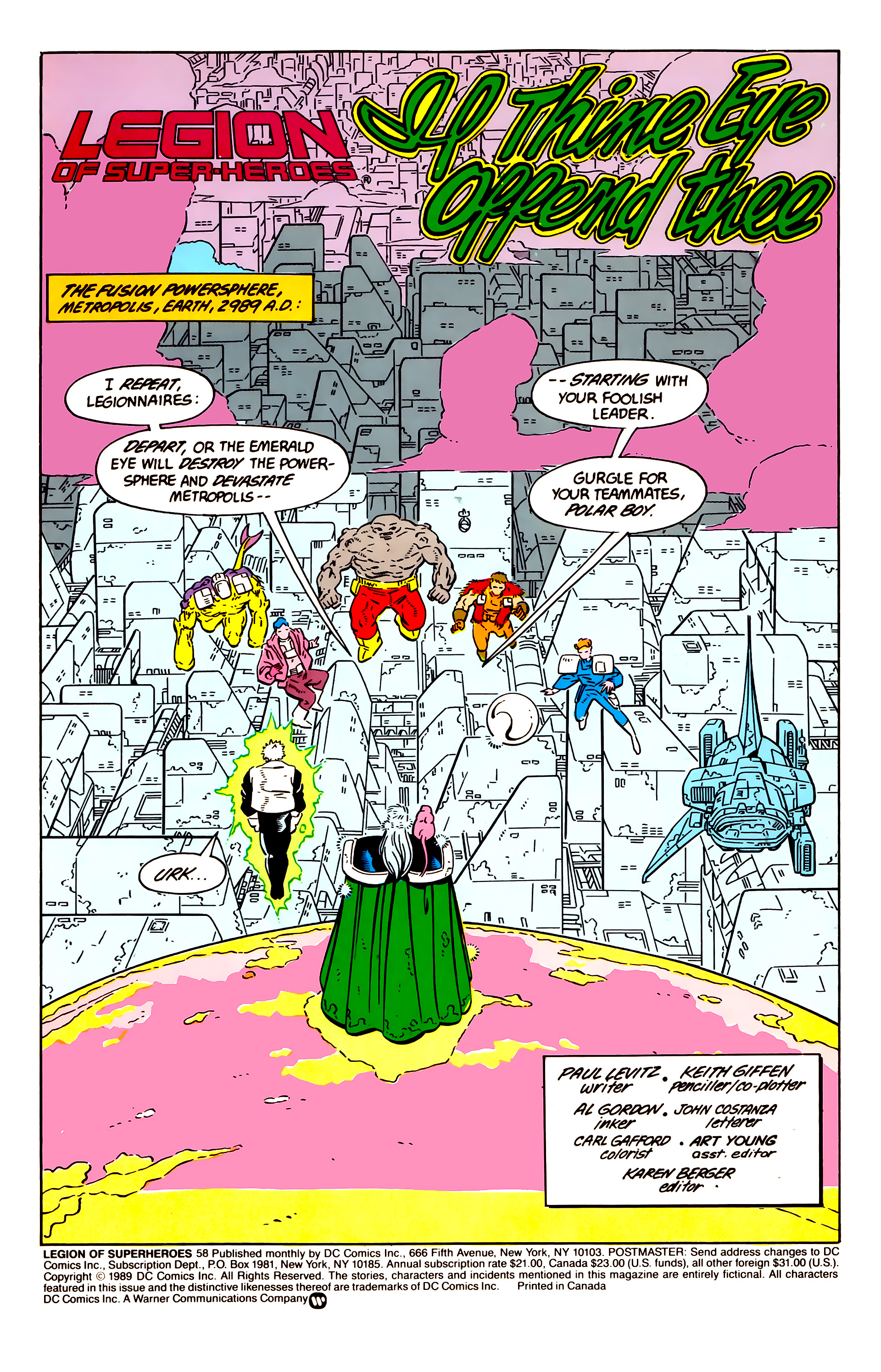 Legion of Super-Heroes (1984) 58 Page 1