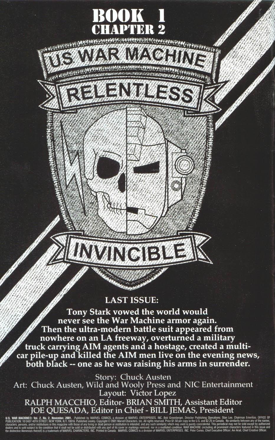 Read online U.S. War Machine comic -  Issue #2 - 2