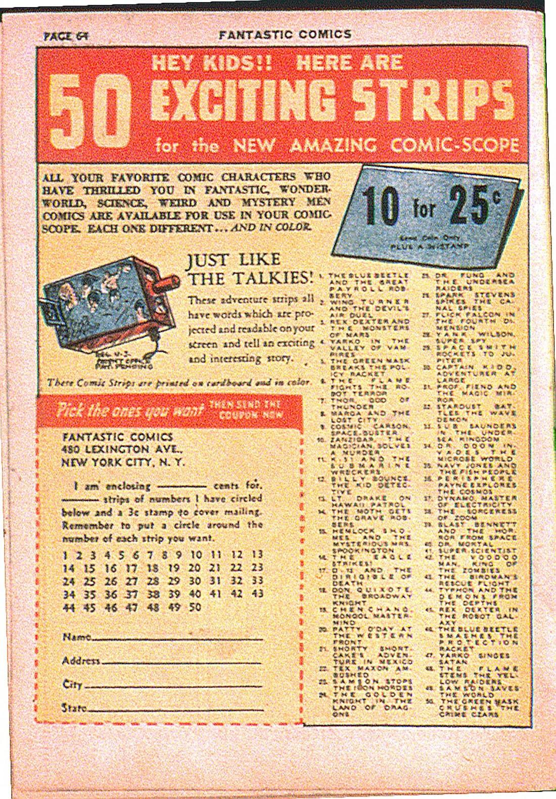 Read online Fantastic Comics comic -  Issue #7 - 66