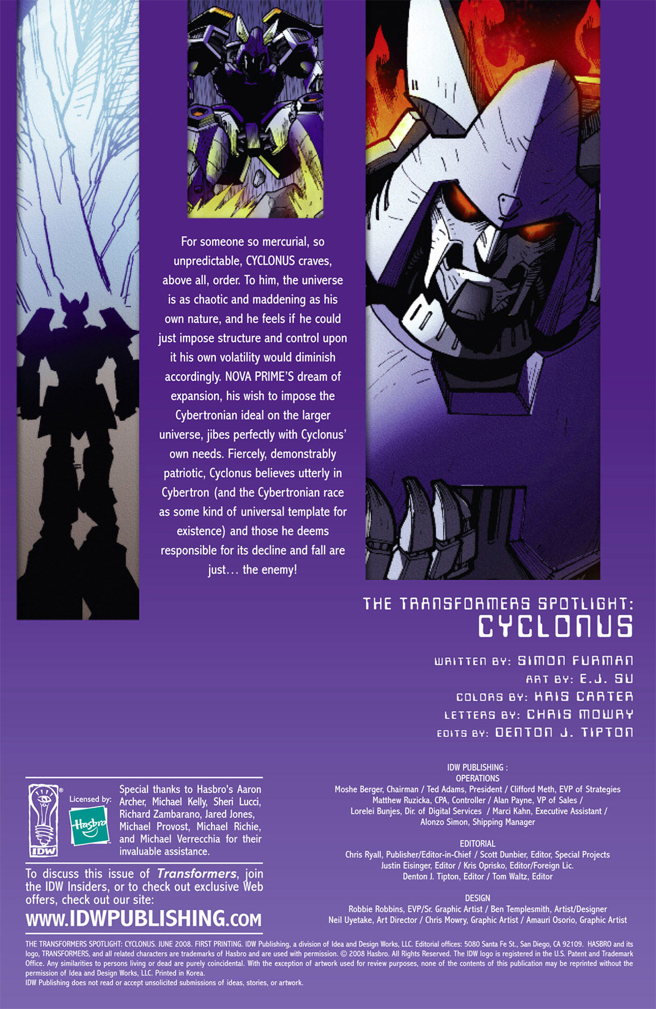 Read online Transformers Spotlight: Cyclonus comic -  Issue # Full - 4