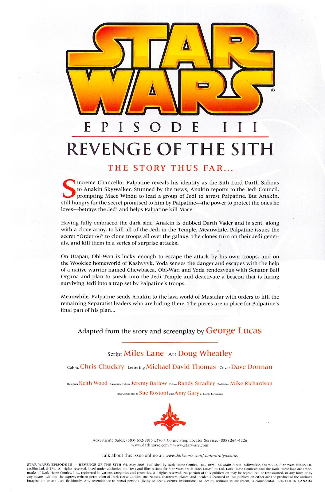 Comic Star Wars Episode Iii Revenge Of The Sith 2005 Issue 4