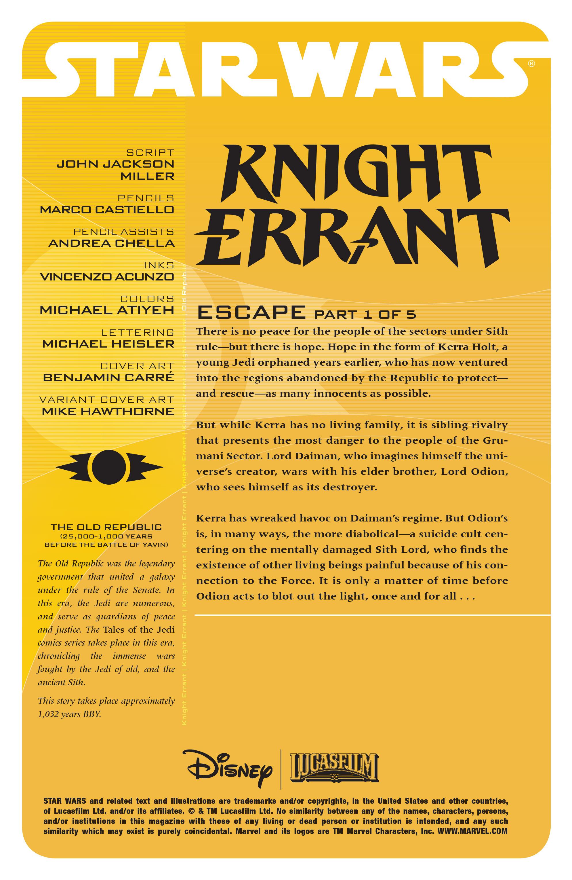 Read online Star Wars: Knight Errant - Escape comic -  Issue #1 - 2