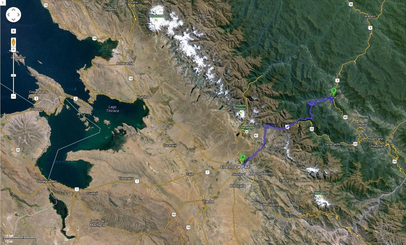 Trajeto detalhado de La Paz / Bolívia a Coroico / Bolívia.