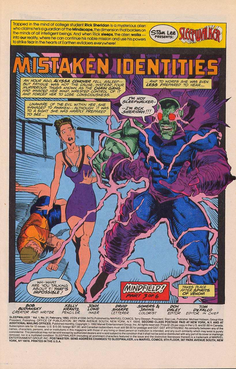 Read online Sleepwalker comic -  Issue #21 - 2