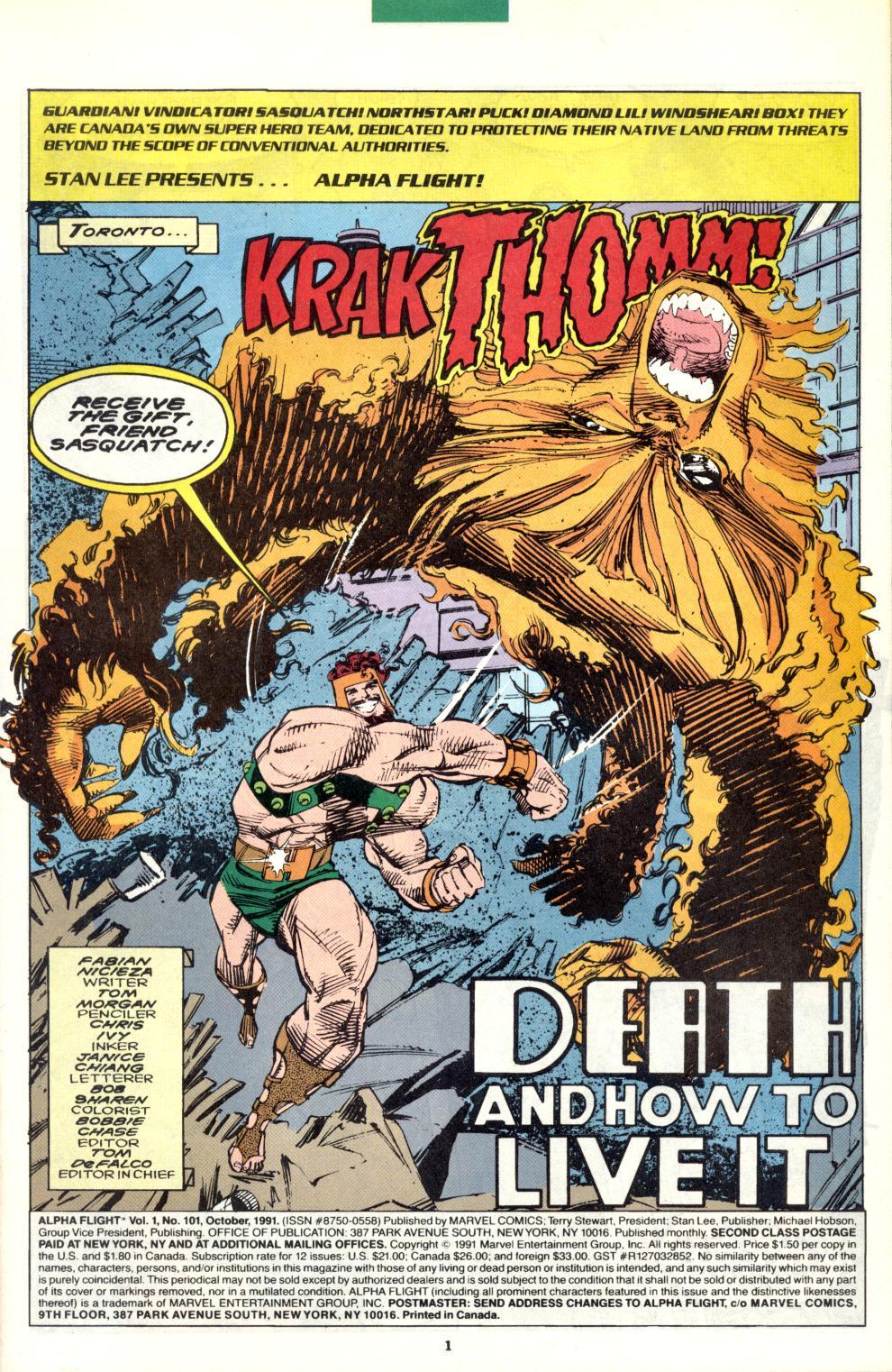 Read online Alpha Flight (1983) comic -  Issue #101 - 2