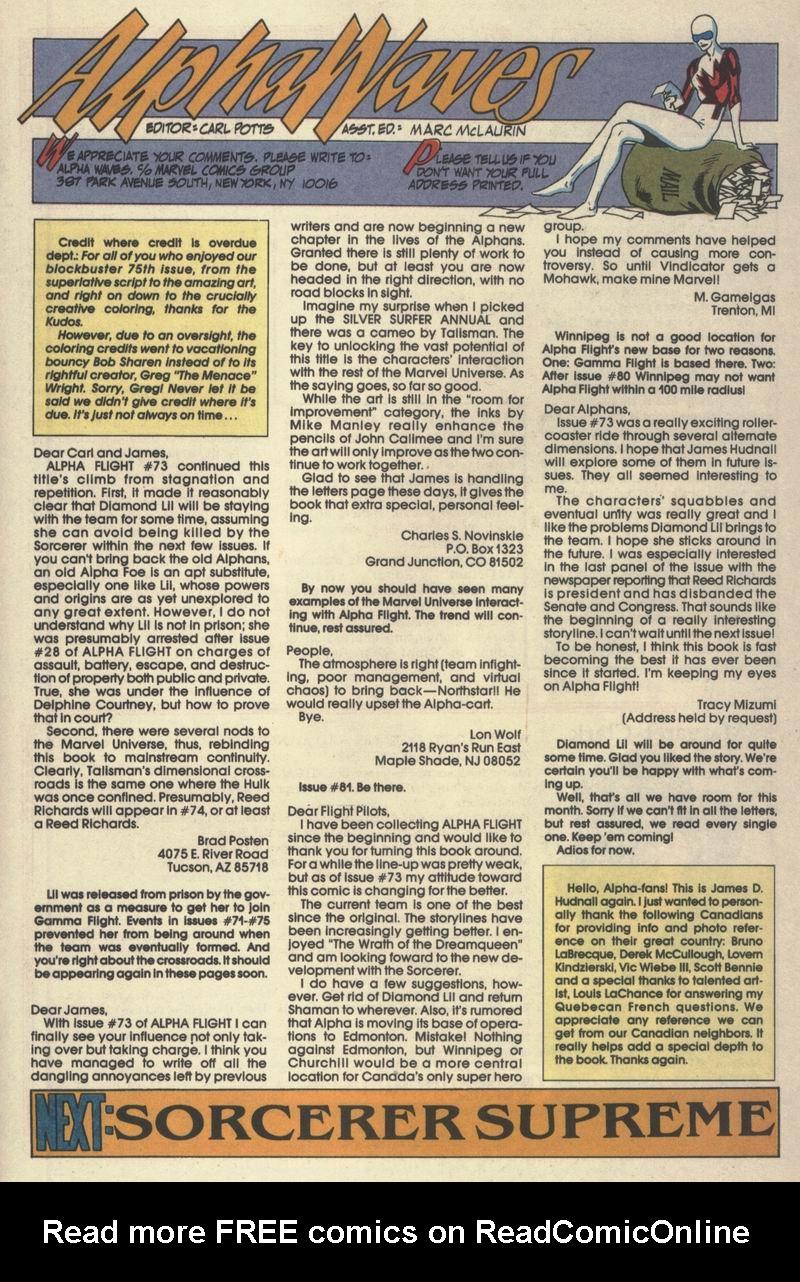 Read online Alpha Flight (1983) comic -  Issue #77 - 31