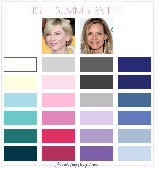 Best colors for Light Summer seasonal color women; Light Summer color palette