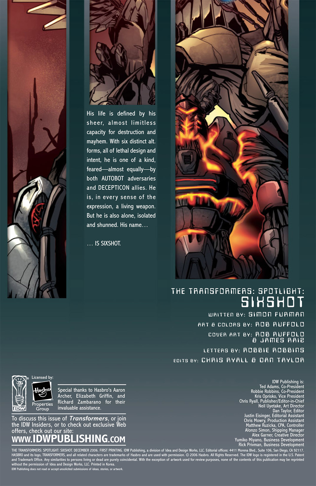 Read online Transformers Spotlight: Sixshot comic -  Issue # Full - 3