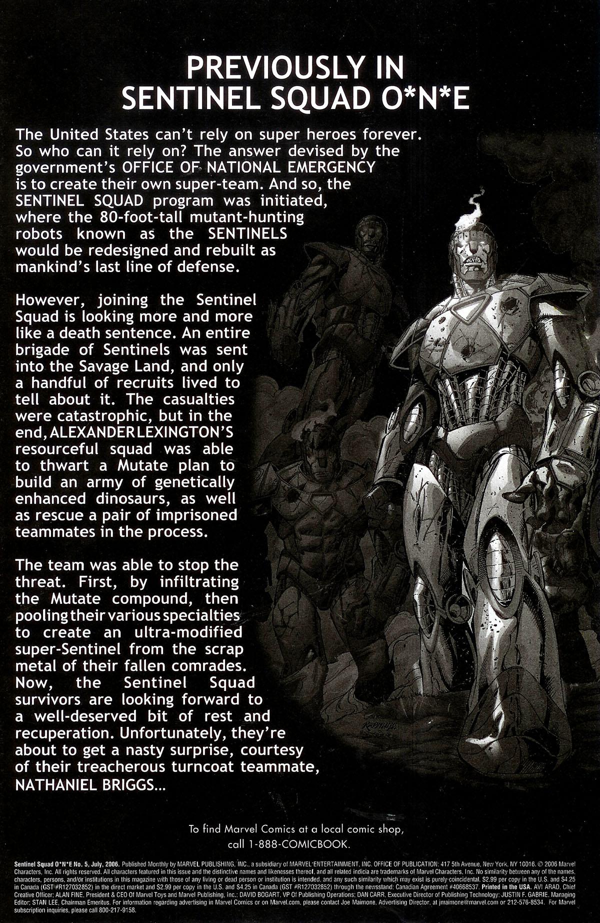 Read online Sentinel Squad O*N*E comic -  Issue #5 - 2