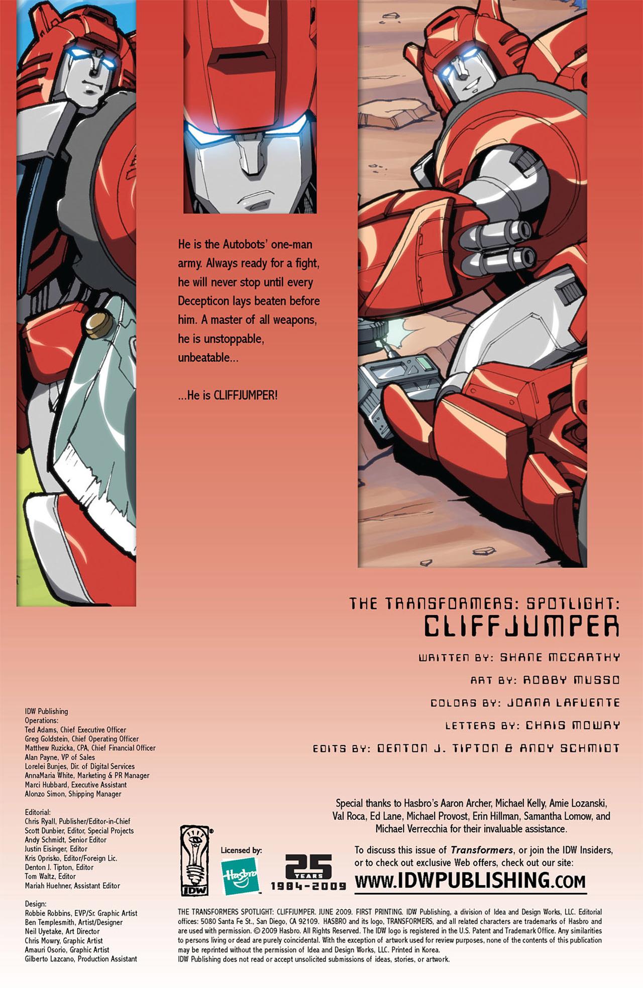 Read online Transformers Spotlight: Cliffjumper comic -  Issue # Full - 3