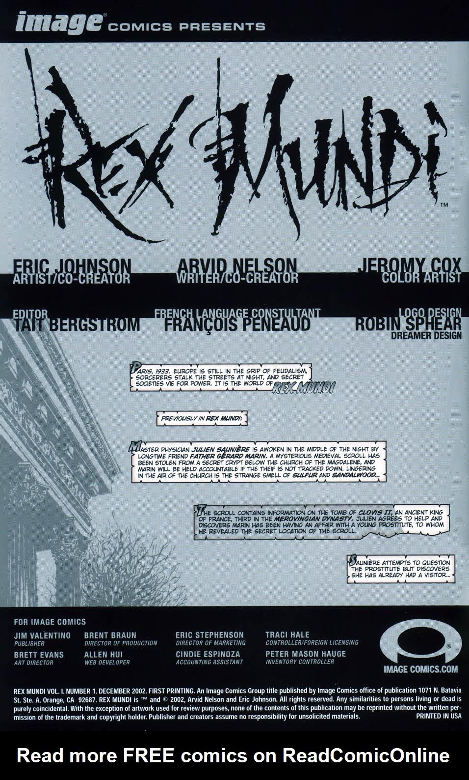 Read online Rex Mundi comic -  Issue #1 - 2