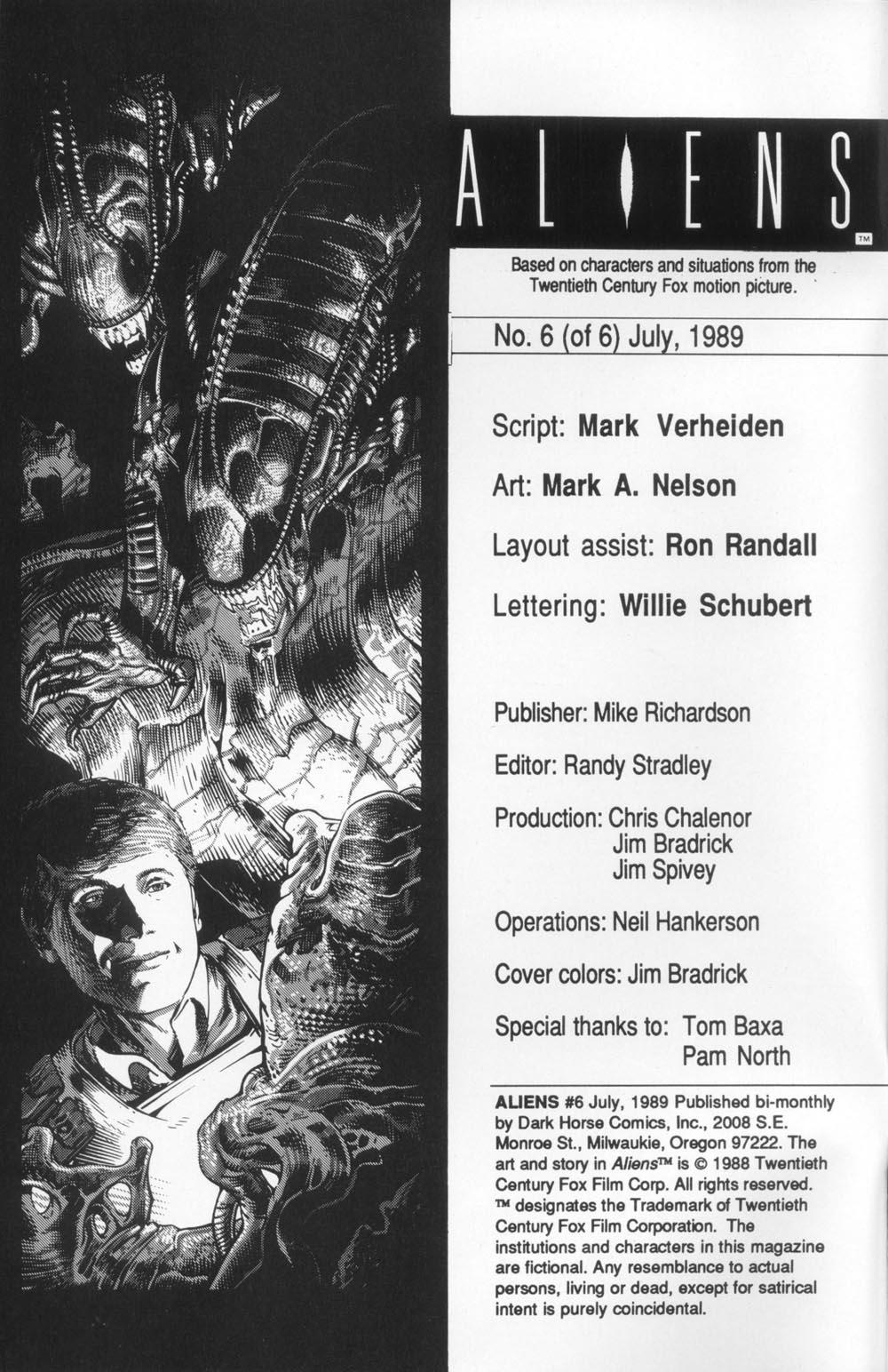 Read online Aliens (1988) comic -  Issue #6 - 2
