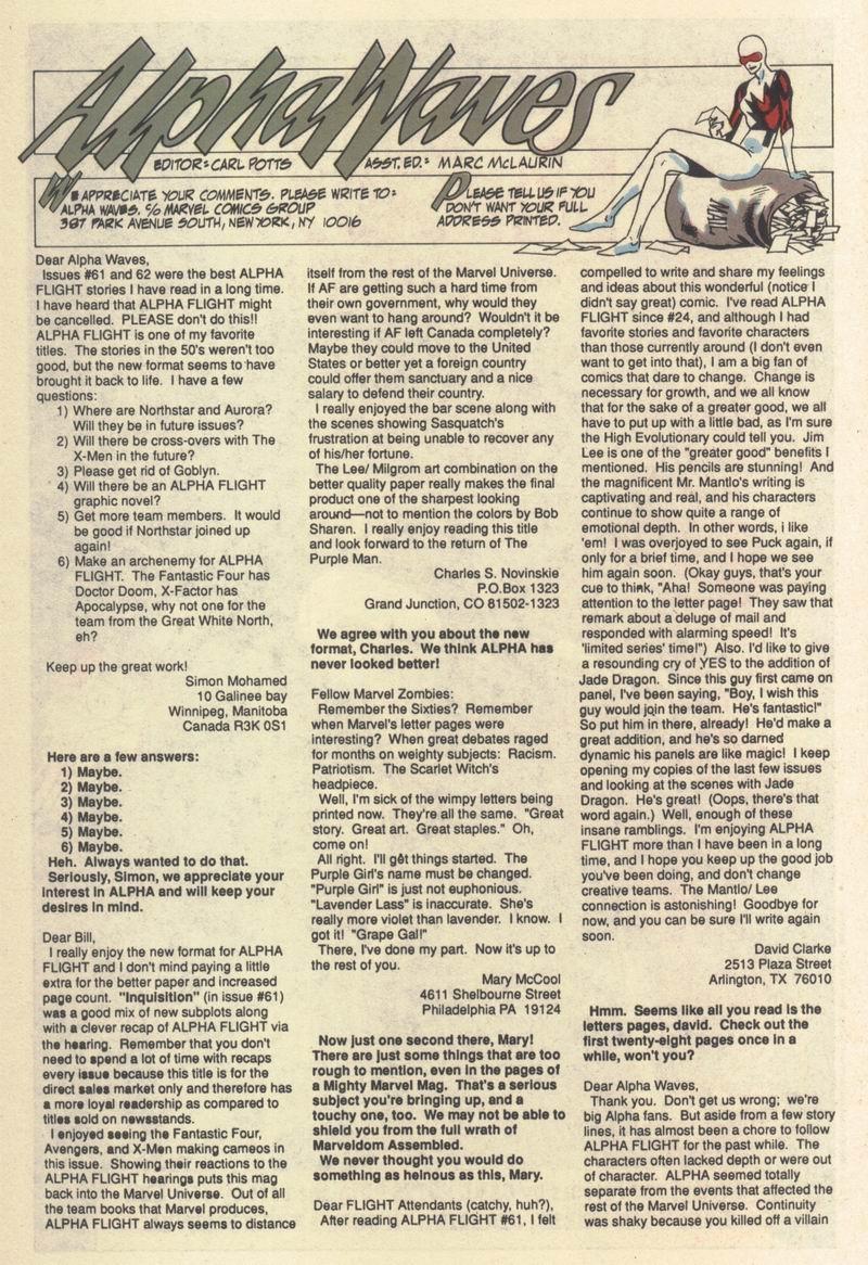 Read online Alpha Flight (1983) comic -  Issue #64 - 29