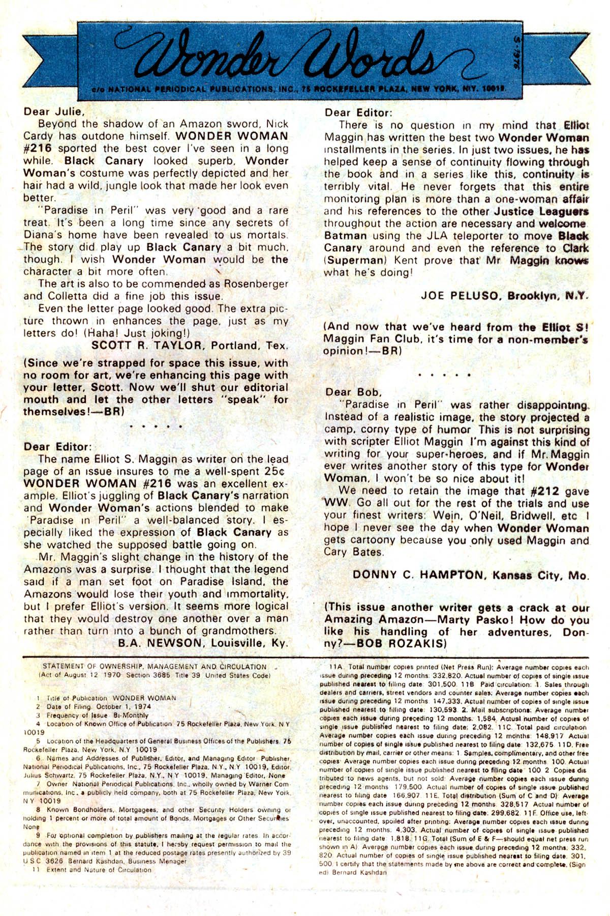 Read online Wonder Woman (1942) comic -  Issue #218 - 21