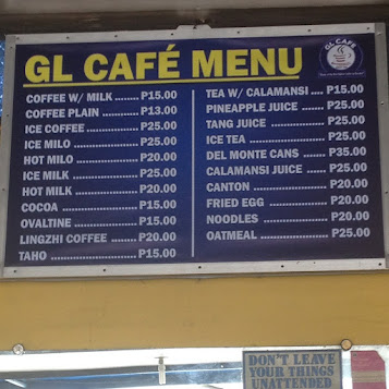 GL Cafe menu