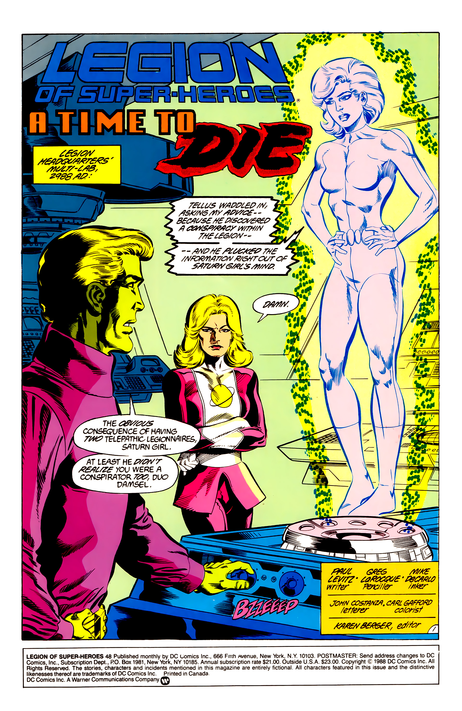 Legion of Super-Heroes (1984) 48 Page 1