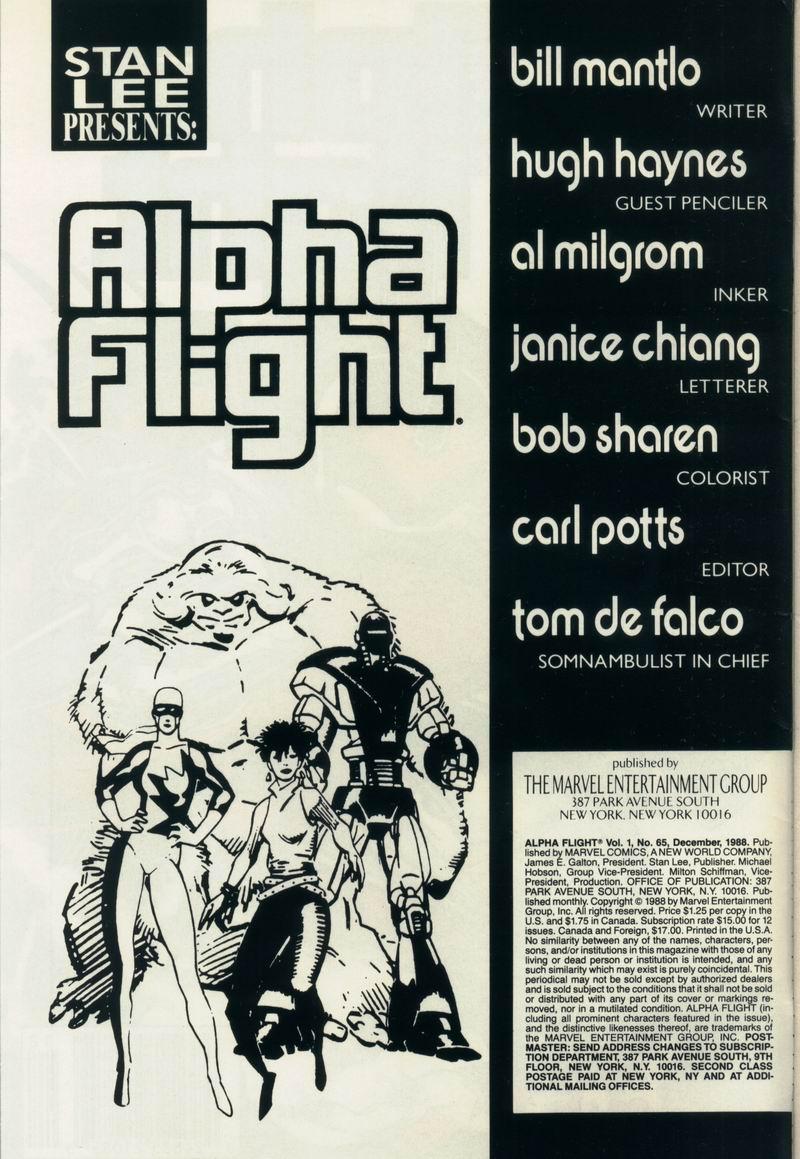 Read online Alpha Flight (1983) comic -  Issue #65 - 2