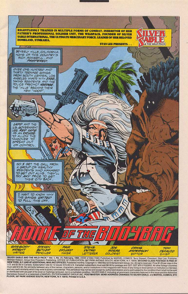 Read online Silver Sable and the Wild Pack comic -  Issue #21 - 2