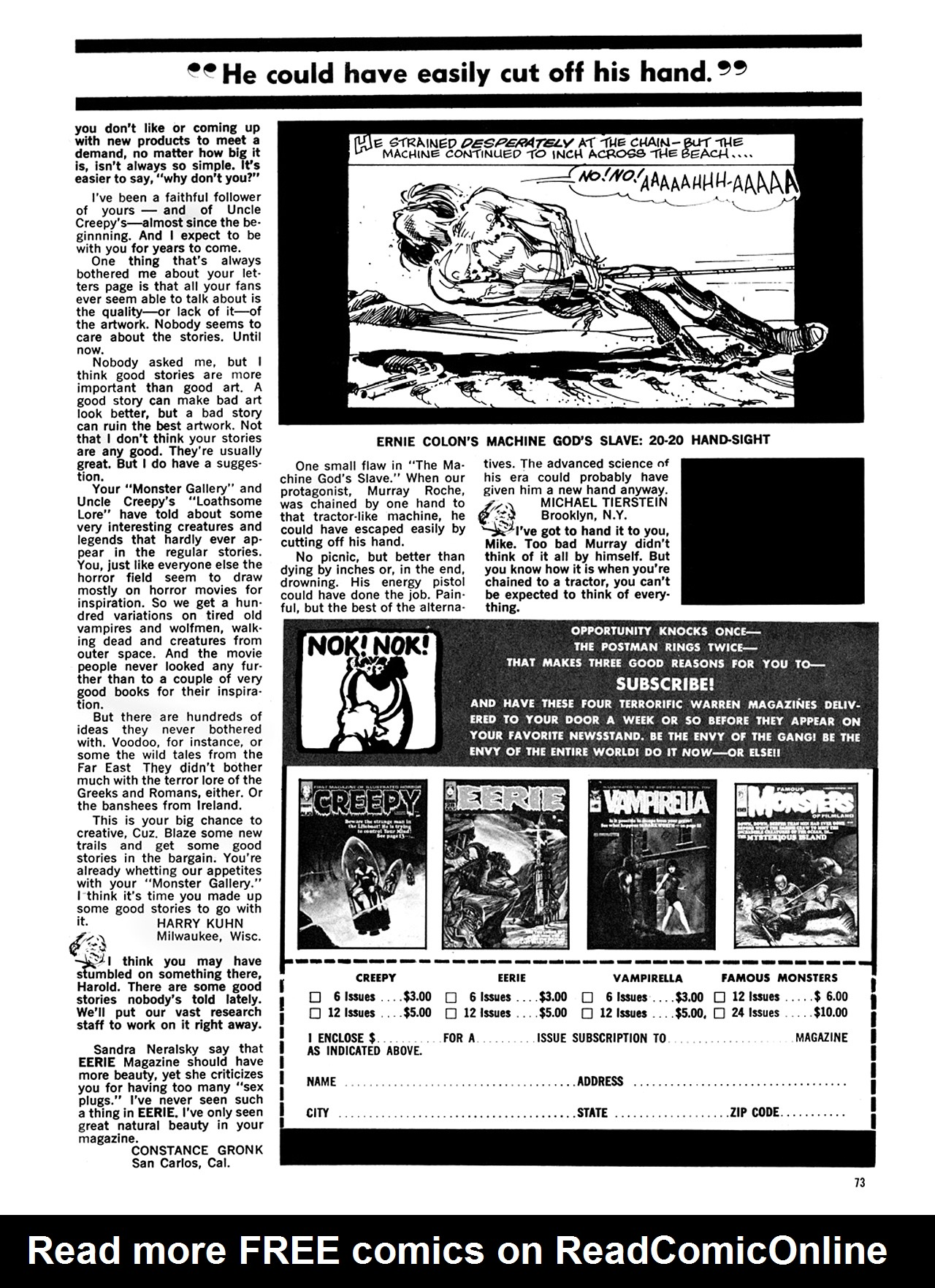 Read online Eerie Archives comic -  Issue # TPB 6 - 74