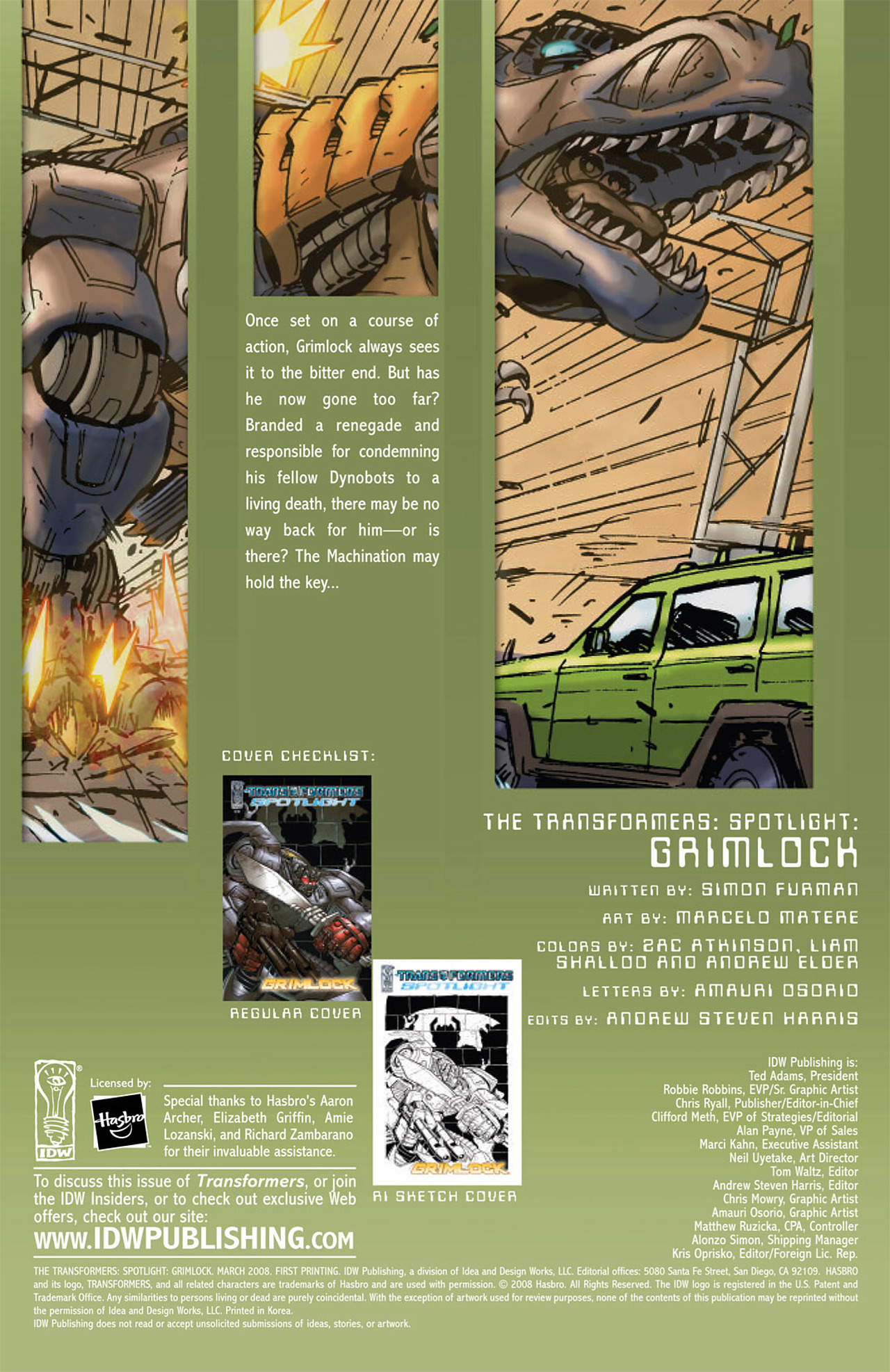 Read online Transformers Spotlight: Grimlock comic -  Issue # Full - 3