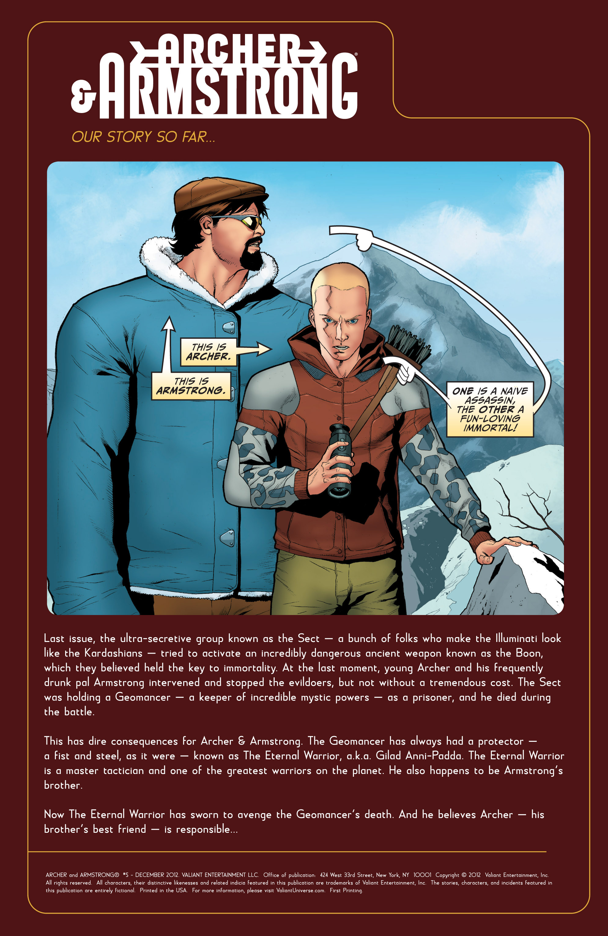 Read online Archer and Armstrong comic -  Issue #5 - 2
