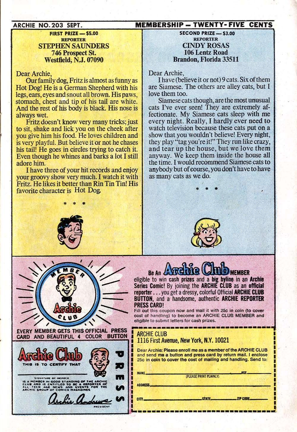 Read online Archie (1960) comic -  Issue #203 - 11